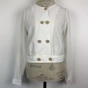 Cabi Piazza White Linen Blend Jacket #5096 -S